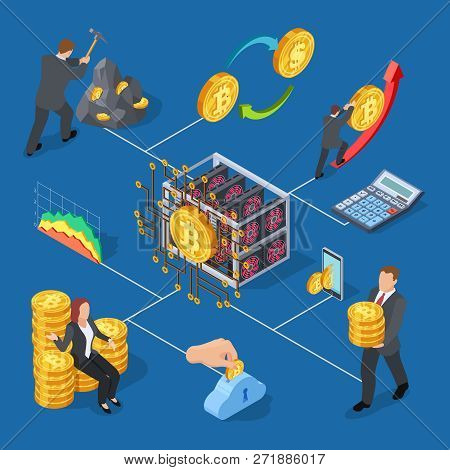Ico And Blockchain Isometric Icons. Bitcoin Mining And Cryptocurrency Exchange Vector Illustration.