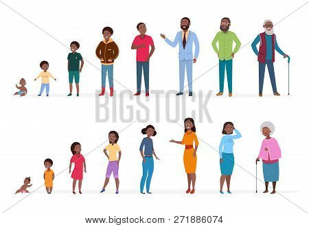 African American People Of Different Ages. Man Woman Baby Kids Teenagers, Young Adult Elderly Person