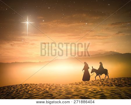 Nativity Christmas Concept: Silhouette Pregnant Mary And Joseph With A Donkey On Star Of Cross Backg