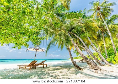 Perfect Tranquil Beach Scene, Soft Sunlight And White Sand And Blue Endless Sea As Tropical Landscap