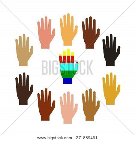Hands Of People Of Different Nationalities. Multi-color Hands. Vector Illustration. White Background
