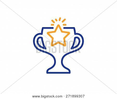 Winner Cup Line Icon. Sport Trophy With Star Symbol. Victory Achievement Or Championship Prize Sign.