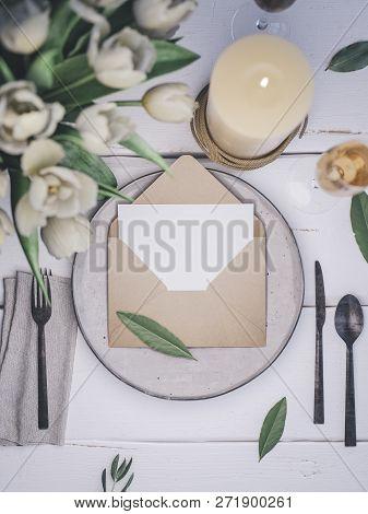 Place Card Mockup. Envelope With An Elegant Wedding Invitation