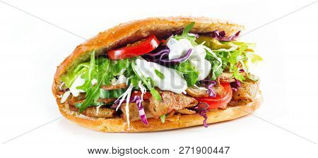 Delicious Kebab Sandwich Isolated On White Background.