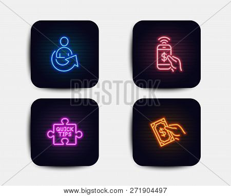 Neon Set Of Share, Phone Payment And Quick Tips Icons. Pay Money Sign. Referral Person, Mobile Pay,