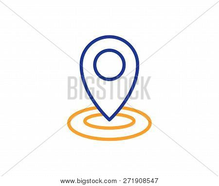 Location Line Icon. Map Pointer Sign. Colorful Outline Concept. Blue And Orange Thin Line Color Icon