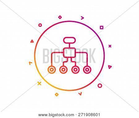 Restructuring Line Icon. Business Architecture Sign. Delegate Symbol. Gradient Pattern Line Button.