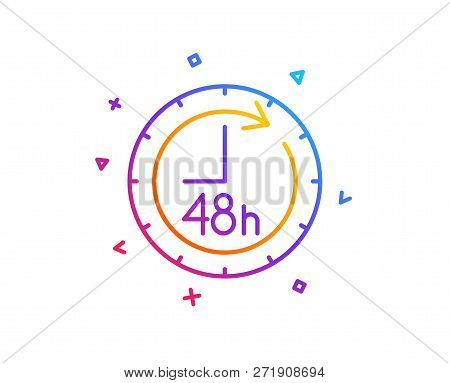 48 Hours Line Icon. Delivery Service Sign. Gradient Line Button. 48 Hours Icon Design. Colorful Geom