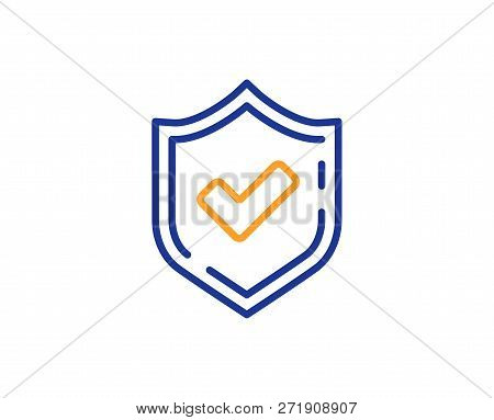 Check Mark Line Icon. Accepted Or Approve Sign. Tick Shield Symbol. Colorful Outline Concept. Blue A