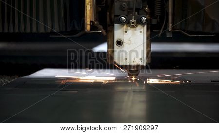 Cutting Of Metal. Sparks Fly From Laser. Clip. Laser Cutting Machine Technology. Industrial Laser Cu