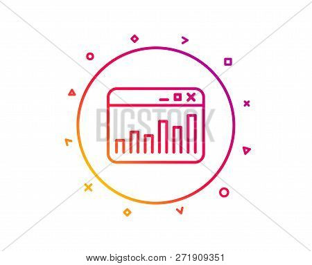 Marketing Statistics Line Icon. Web Analytics Symbol. Browser Window Sign. Gradient Pattern Line But