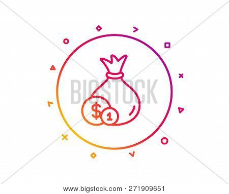 Money Bag With Coins Line Icon. Cash Banking Currency Sign. Dollar Or Usd Symbol. Gradient Pattern L