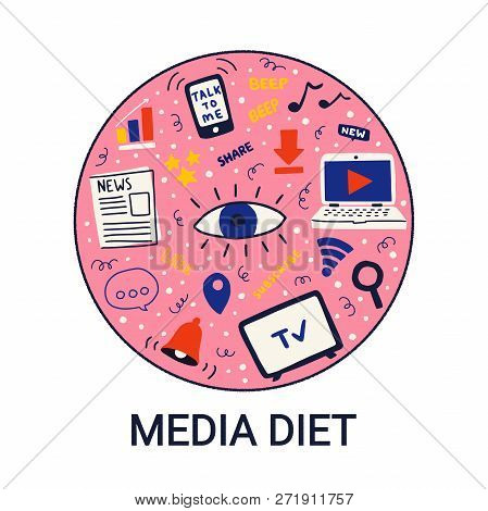 Concept For Media Diet In A Circle On White Background. Vector Illustration For Information Overload