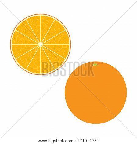 Fresh Orange And A Slice. Raw Food Vector Illustration.