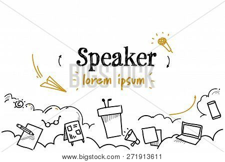 Conference Meeting Candidate Announcement Speaker Concept Sketch Doodle Horizontal Isolated Copy Spa