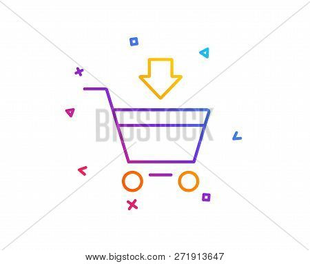 Add To Shopping Cart Line Icon. Online Buying Sign. Supermarket Basket Symbol. Gradient Line Button.