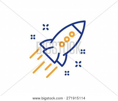 Startup Rocket Line Icon. Launch Project Sign. Innovation Symbol. Colorful Outline Concept. Blue And