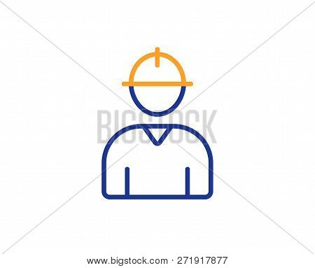 Worker Line Icon. Engineer Profile Sign. Male Person Silhouette Symbol. Colorful Outline Concept. Bl