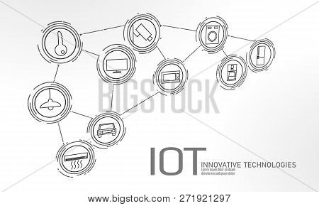 Internet Of Things Icon Innovation Technology Concept. Smart City Wireless Communication Network Iot