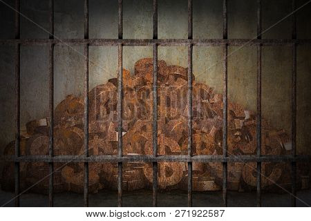 Pile Of Rusty Dollar Sign Is Imprisoned In Old Prison Rusted Metal Bars, Concept Of Investment Trap