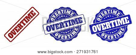 Overtime Grunge Stamp Seals In Red And Blue Colors. Vector Overtime Overlays With Grunge Surface. Gr