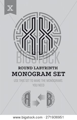 X Letter Maze. Set For The Labyrinth Logo And Monograms, Coat Of Arms, Heraldry, Abbreviation.