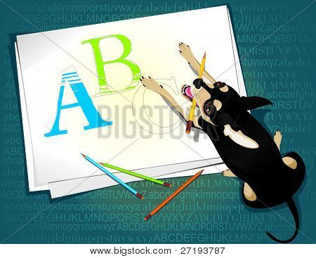 Vector illustration of the cute dog and capital letters
