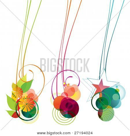 Vector banners of flowers, bubbles and stars