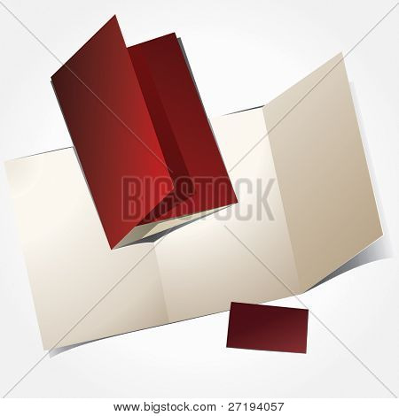 Vector illustration of booklet and visit card.