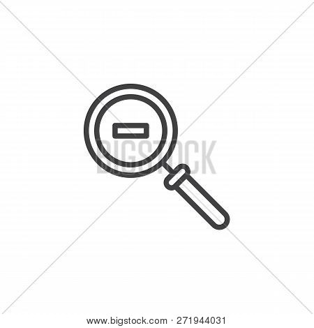 Minimize Magnifier Outline Icon. Linear Style Sign For Mobile Concept And Web Design. Magnifying Gla