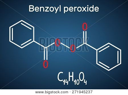 Benzoyl peroxide (BPO) molecule. Structural chemical formula and molecule model on the dark blue background. Vector illustration poster