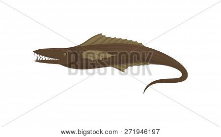 Predatory fish with sharp teeth and long tail. Marine animal. Sea creature. Underwater life. Flat vector icon poster