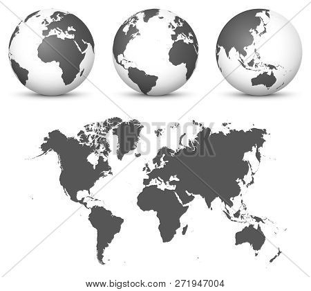 Gray 3d Globe - Earth Vector Set With Undistorted 2d World Map In Gray Color. Usefull As Eyecatcher