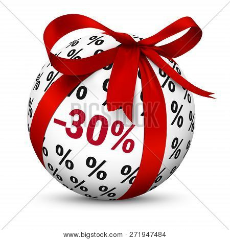 Discount -30% - Spherical Present With Red Gift Bow And Minus 30 (thirty) Percent Texture - Useful A