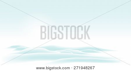 Wintry And Cold Vector Background With Hills And Nebulous Weather - Bright Skyline Scenery. Beautifu