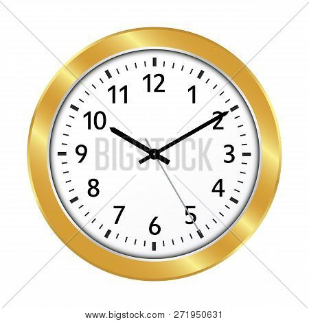 Clock Icon With Golden Border And Classical 10 Past 10 Adjustment And Black Clock Face - Beautiful W