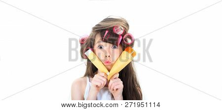Kid Fashion, Cosmetics. Cute Teen Putting Cream On Her Face. Little Girl Is Holding A Tube For The C