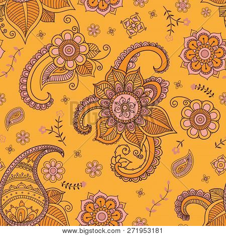 Flowers And Paisley Pattern