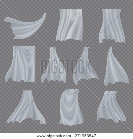 White Cloth Set Vector. Billowing Clear Curly Curtain Transparent White Cloth. Fluttering Curved Fab