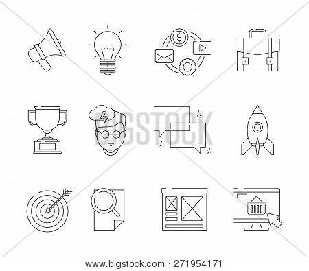 Social Media Line Symbols. Seo Business Promotion Marketing Email Discussion Web Advertizing Flat Ve