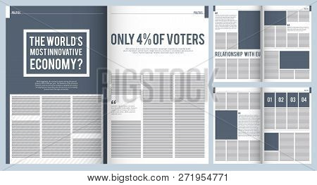 Magazine Layout. Mockup Template Of Modern Magazine Advertisement Brochure Cover Design With Place F