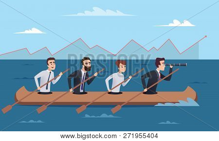 Team Destination. Business Successful Managers Group Going To Leader Director Vector Concept Illustr