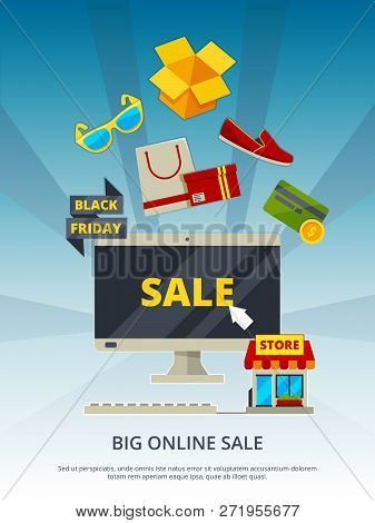 Shopping Online. By Products On Website Mobile App Smartphone Estore Payment On Pc Vector Background
