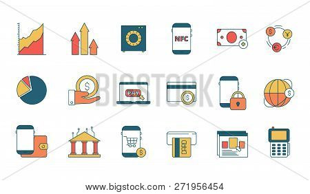 Finance Online Services Icon. E-banking With Secure Internet Transaction Payment Web Business Vector