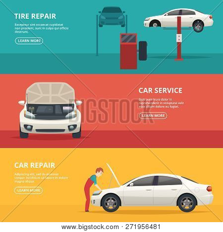 Car Repair Banners. Workers At Automobile Workshop Service Maintenance Car With Mechanic Tools. Vect