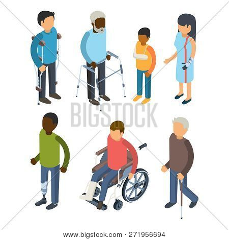Disabilities Persons Isometric. Injury Invalids Defective Persons Maggiore Deaf Care Adults Vector 3