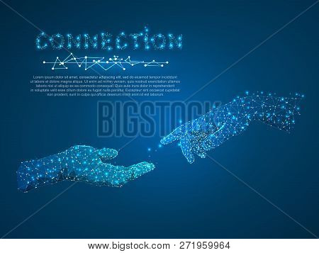 Hands Connection, Business Conversation, Polygonal Space Low Poly With Connecting Dots And Lines. Pe