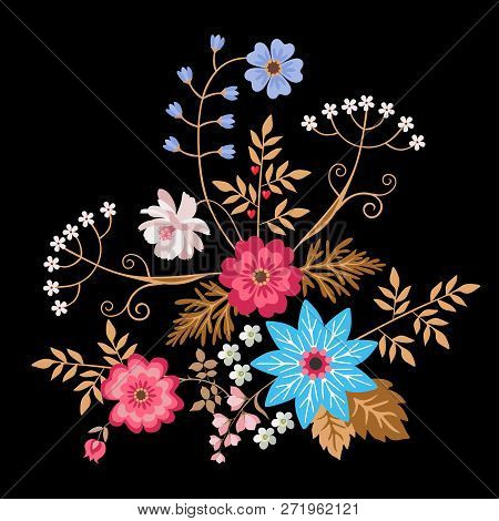 Cute Bouquet Of Flowers Isolated On Black Background In Folk Style In Vector. Wedding Invitation, Gr