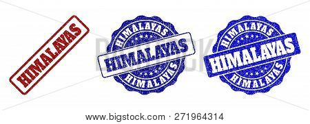 Himalayas Grunge Stamp Seals In Red And Blue Colors. Vector Himalayas Imprints With Grunge Surface.