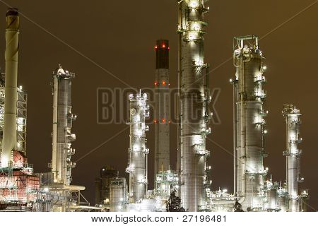 Industrial landscape at night
